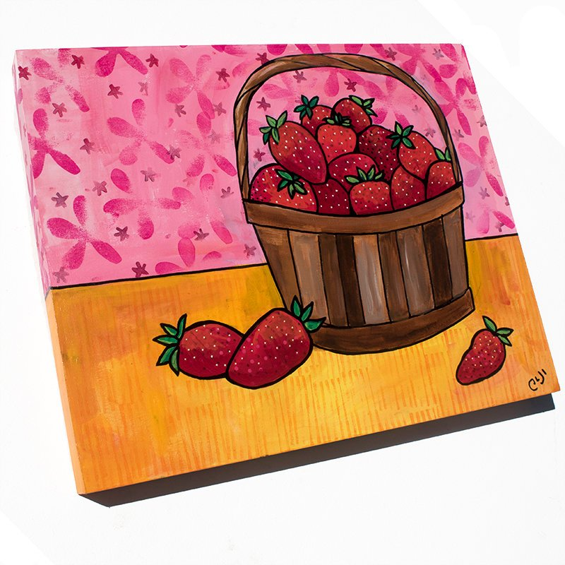 Strawberry Painting - Still Life with Strawberries in Basket