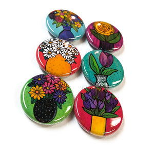 Flower Magnet Set or Flower Pin Set - Colorful Cute Magnets or Pinback Buttons - Stocking Stuffer, Party Favor, Teacher or Office Gift