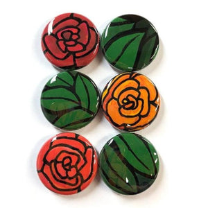 Floral Magnets or Floral Pinback Buttons - 1 inch