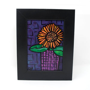 5 x 7 Purple and Orange Gerbera Daisy Painting in Black Frame