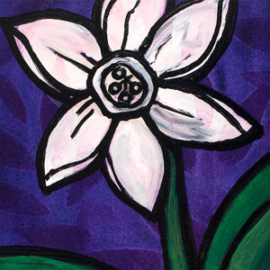 White Daffodil Painting - Small Original Art by Claudine Intner