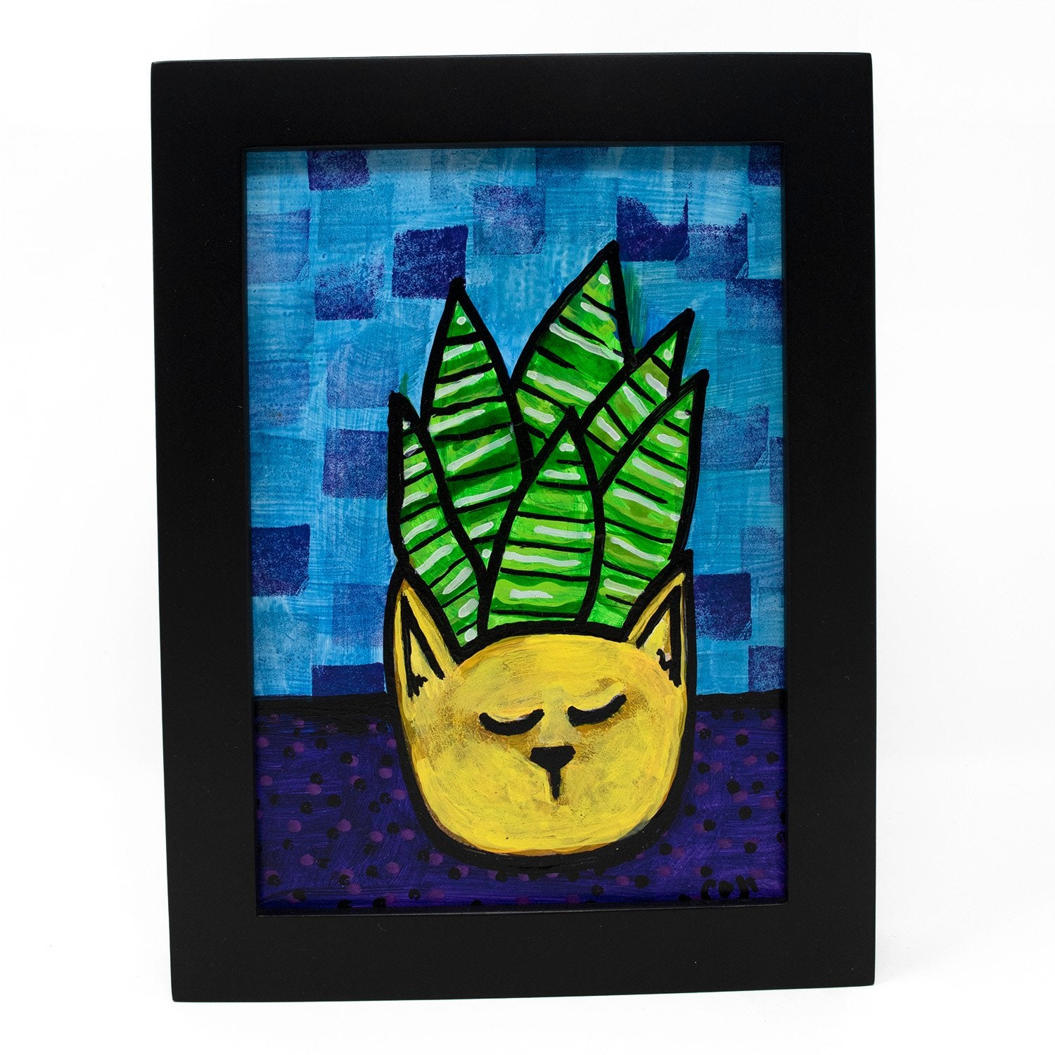 Succulent in Cat Planter Painting - Modern Succulent Still Life