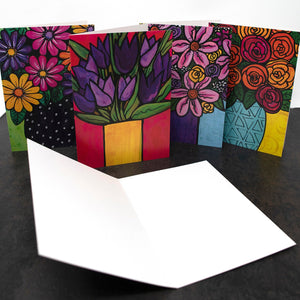 Blank Flowers Cards with Envelopes - Flower Cards for Thank You, Birthday, Wedding, Any Occasion