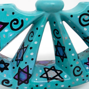 Star of David Menorah - Blue Hand Painted Ceramic Menorah