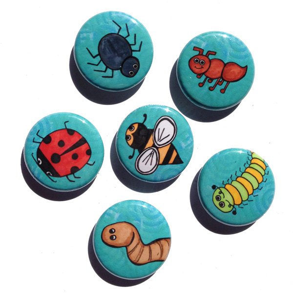 Cute Bug Magnets or Bug Pins - Insect Fridge Magnet or Pinback Button Set, ladybug, spider, ant, bee, caterpillar - science party favor