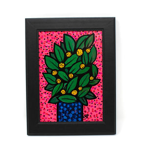 Little Lemon Bush Painting - 5x7 Original Art