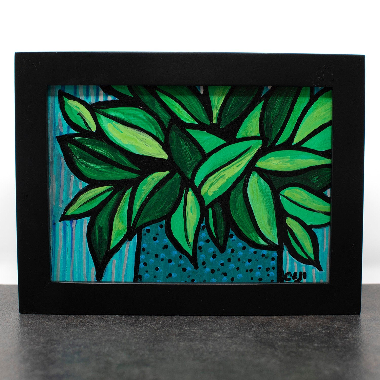 Plant Painting Small - Green Leaves