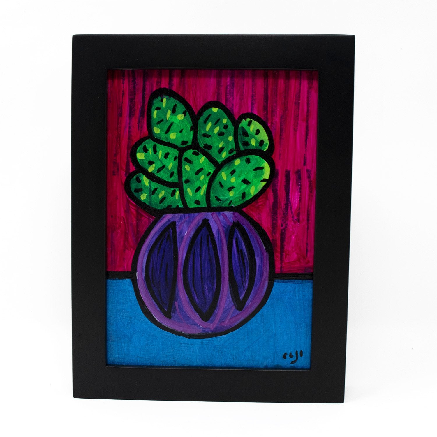Happy Cactus Painting - Succulent Art