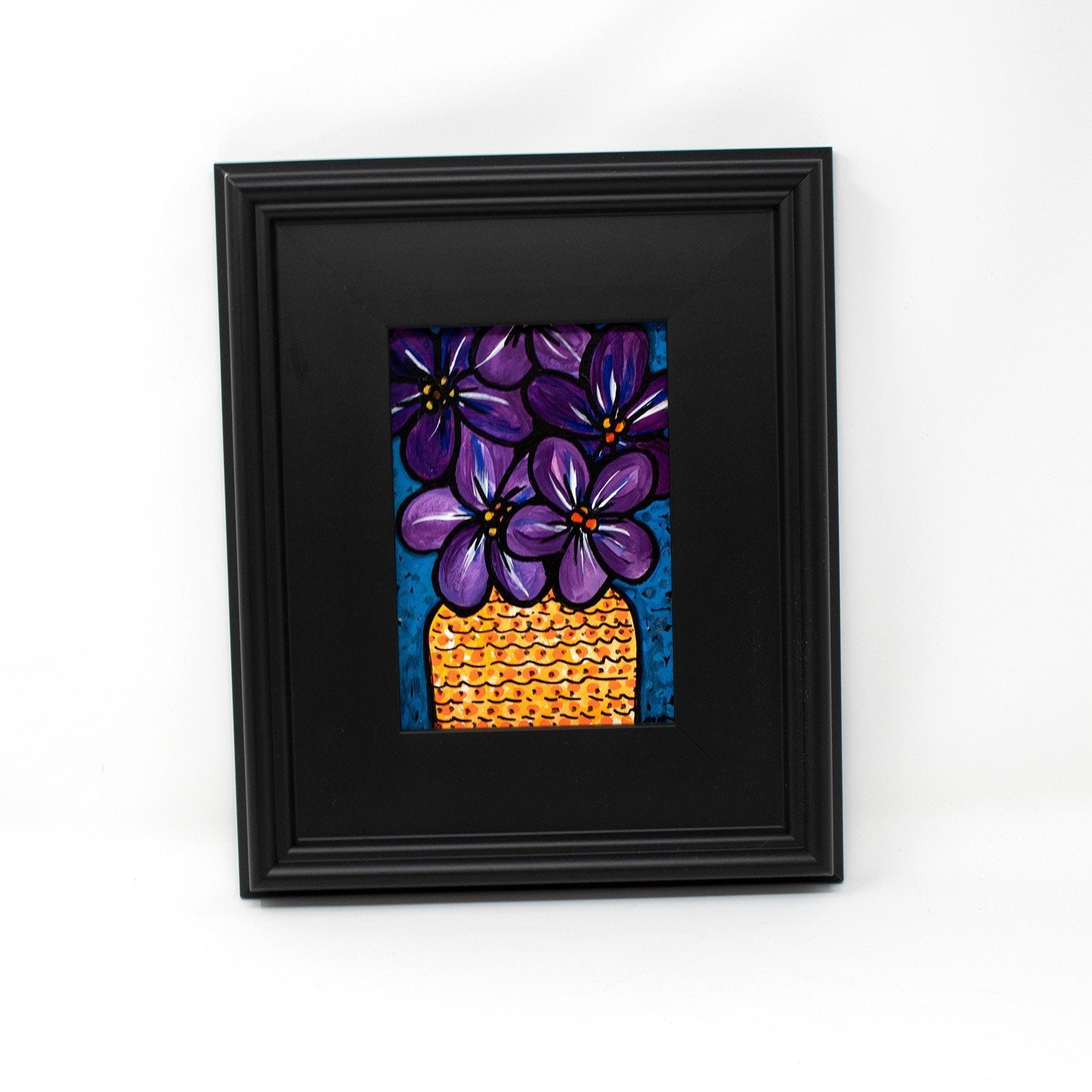 Purple Violet Painting Original - Framed Floral Art
