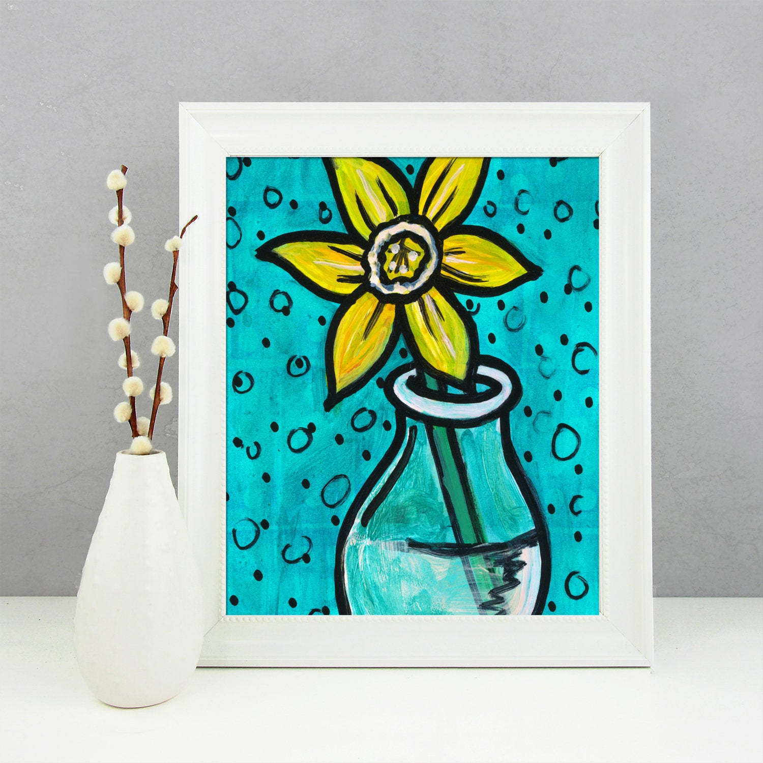 Yellow Daffodil Print - Flower Giclee Print for Bedroom, Bathroom or Living Room