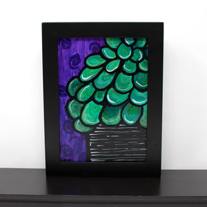 Purple and Green Jade Plant Painting Original - Succulent Lover Gift
