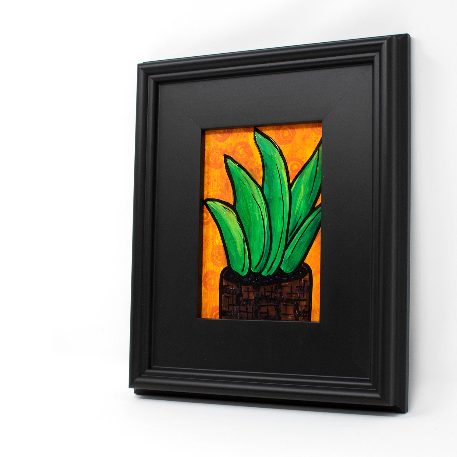 Aloe Plant Art - Original Succulent Painting in Frame