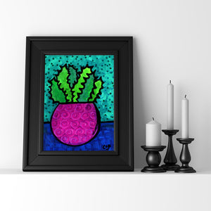 Vibrant Succulent Art Print - Whimsical Plant Giclee with Bold Colors and Optional Black Mat