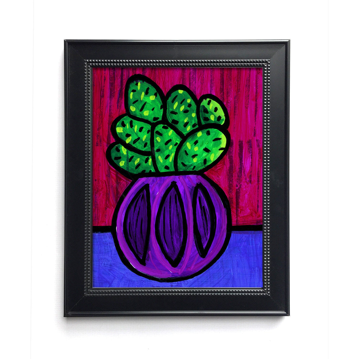 Happy Cactus Print - Bold Color Succulent Art Giclee