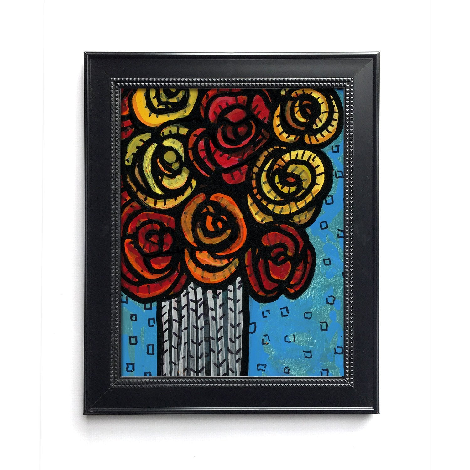 Whimsical Rose Print - Floral Art on Blue