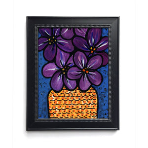 Violet Flower Art Print - Purple Flower Still Life Giclee Print for Bedroom, Living Room