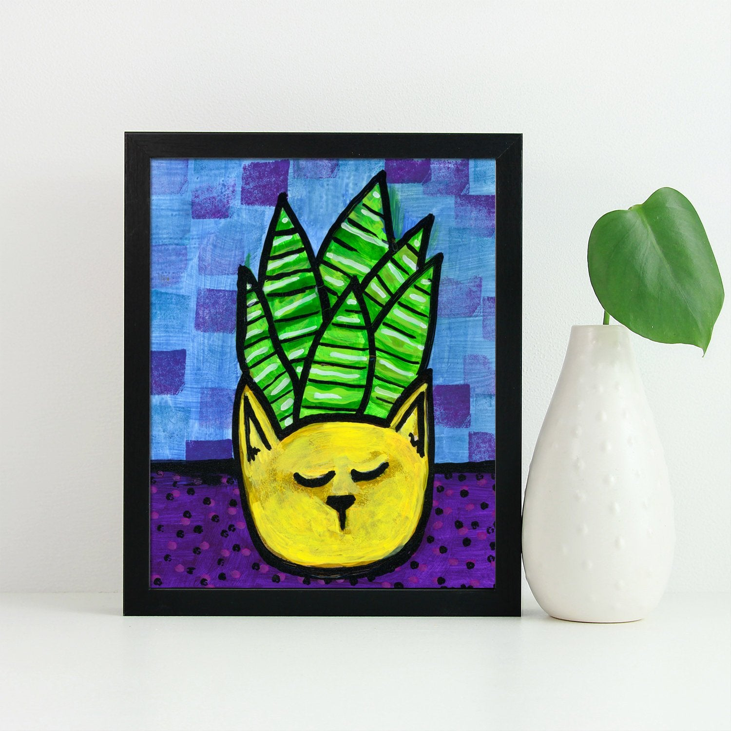 Whimsical Succulent Print - Kitty Cat Planter with Succulent Plant Giclee