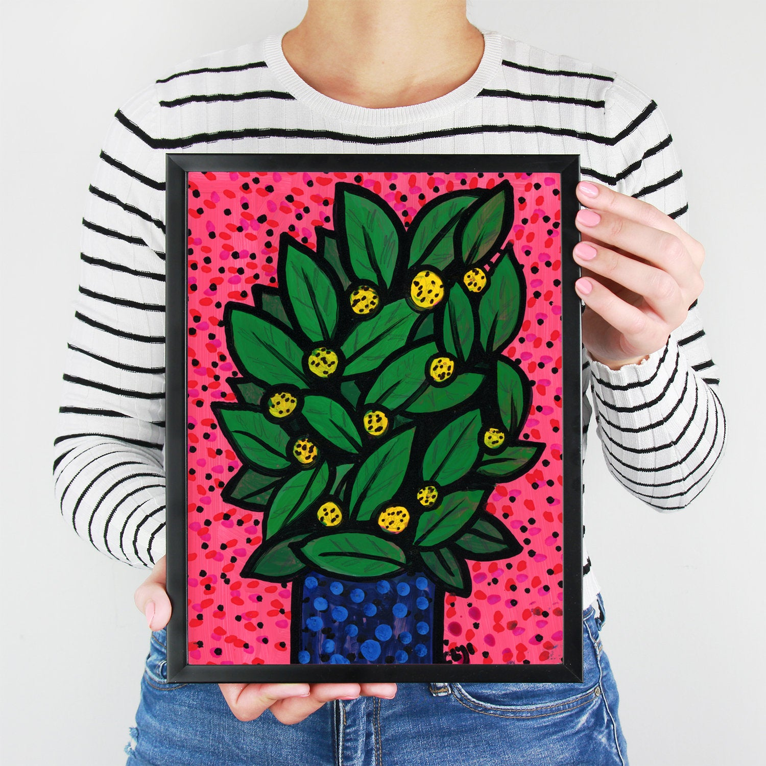 Lemon Bush Print - Whimsical Plant Giclee