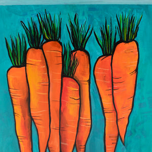 Original Carrot Painting - Vegetable Art for Living, Dining Room, Kitchen