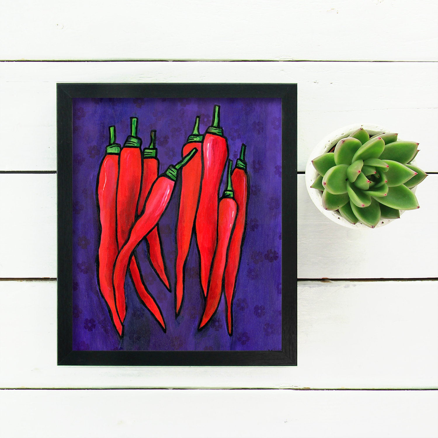 Red Chili Pepper Print - Purple and Red Kitchen Wall Art Print