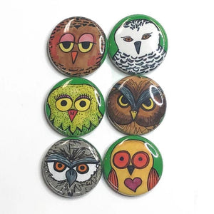 Owl Magnets or Owl Pins - Cute Magnet or Pin Back Button Set