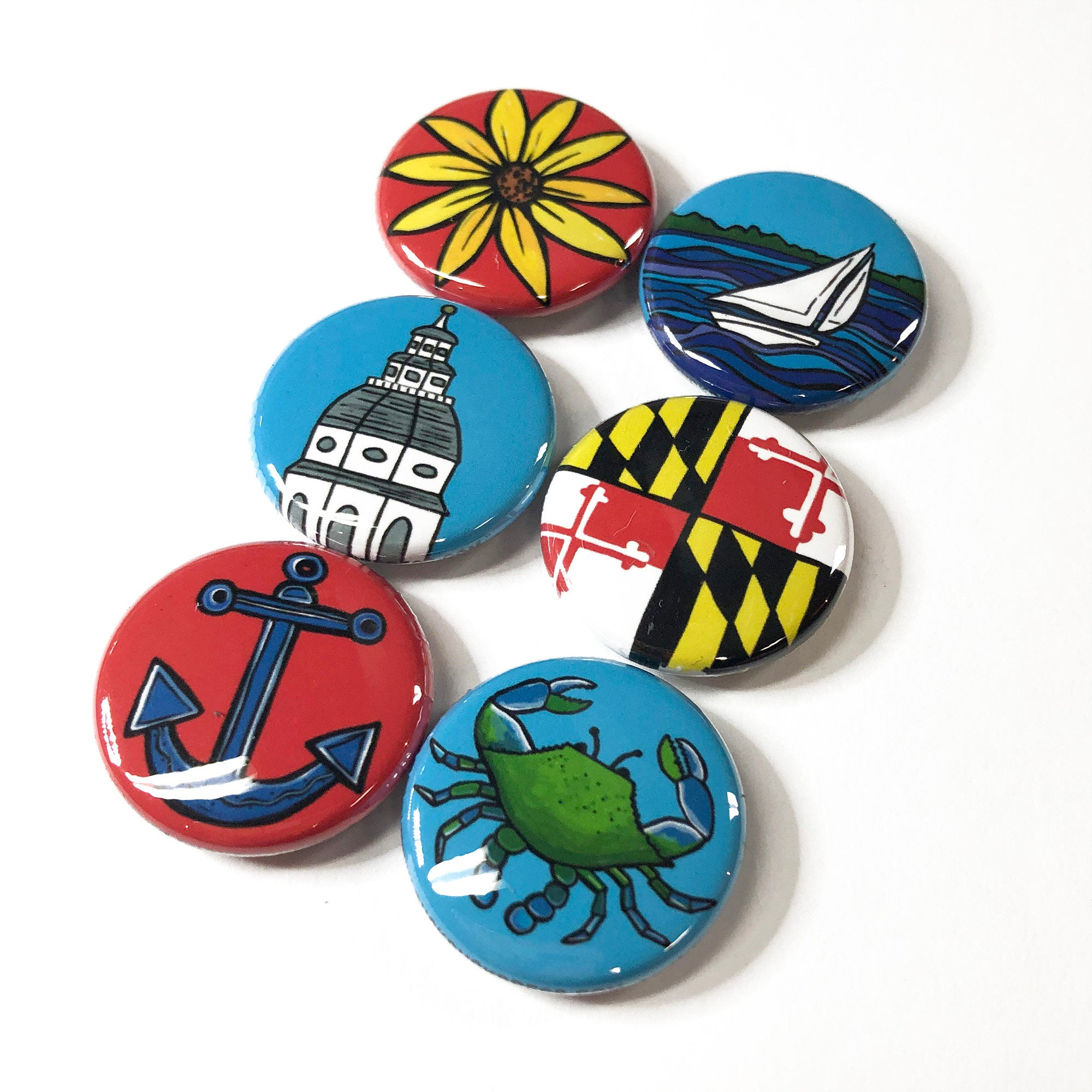 Maryland Magnets or Pins - State House, Flag, Blue Crab, Sailboat, Black Eyed Susan, Anchor, Chesapeake Bay