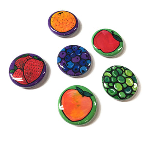 Fruit Magnets or Pinback Buttons - Healthy Food Fridge Magnets or Pins