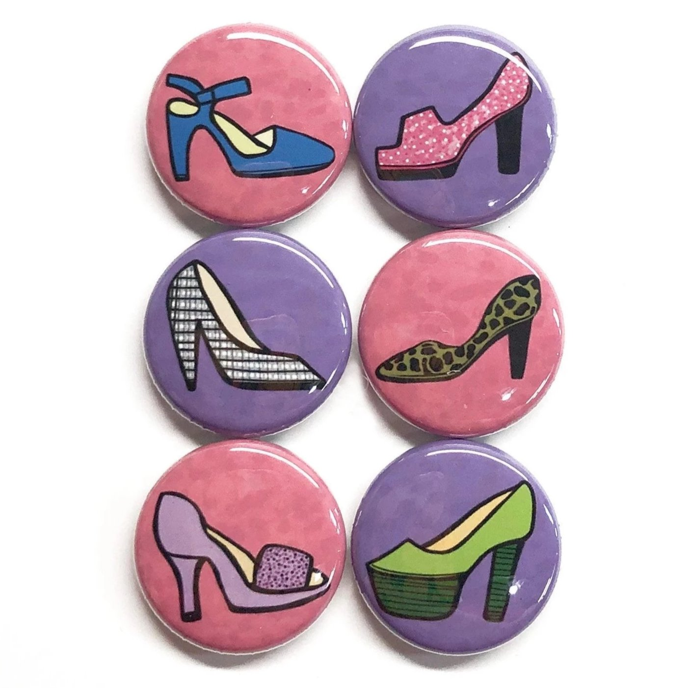 Shoe Magnet or Pin Set - High Heel Fridge Magnets or Pinback Buttons