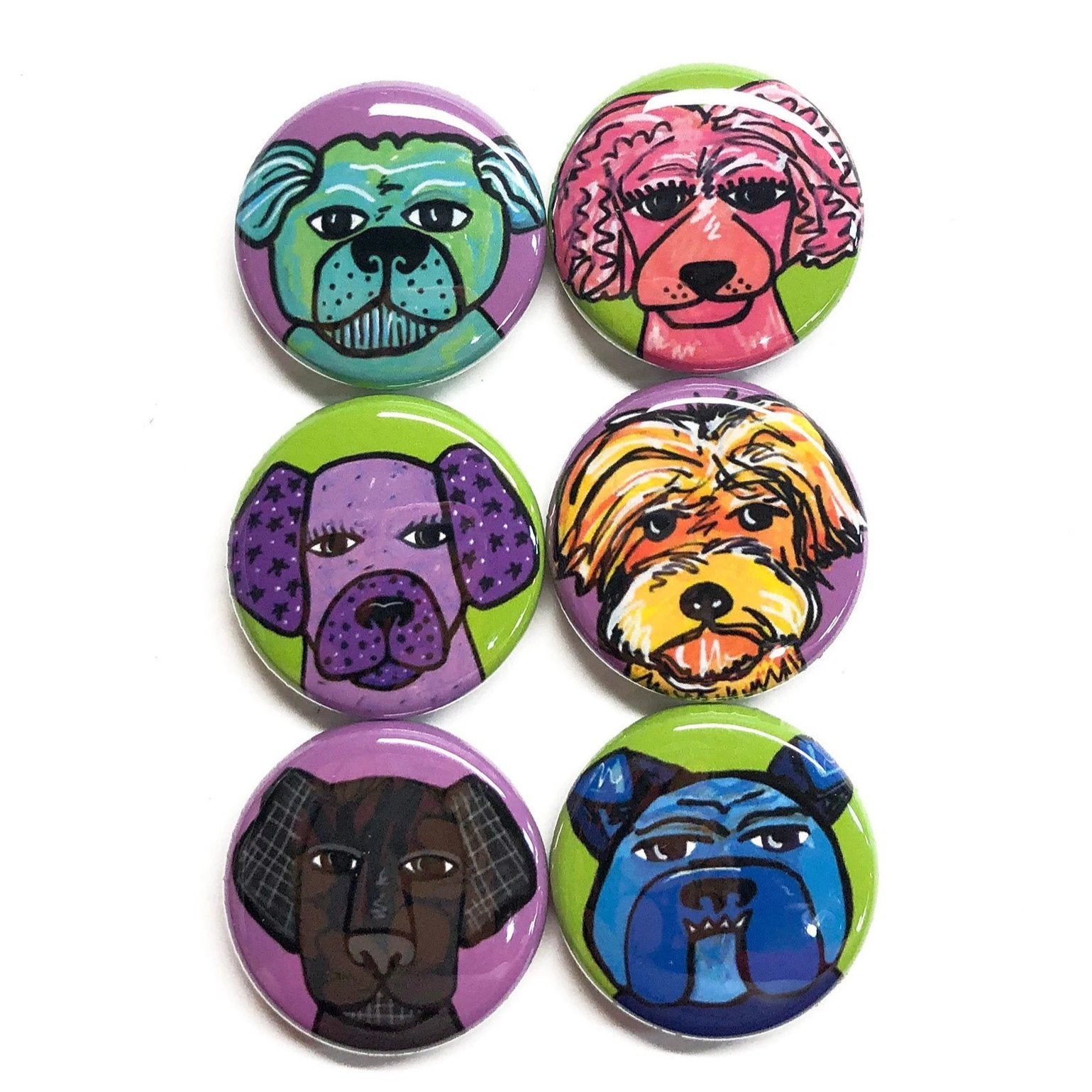 Cute Dog Pins and Magnets - Whimsical Animal Fridge Magnet or Pinback Button Set