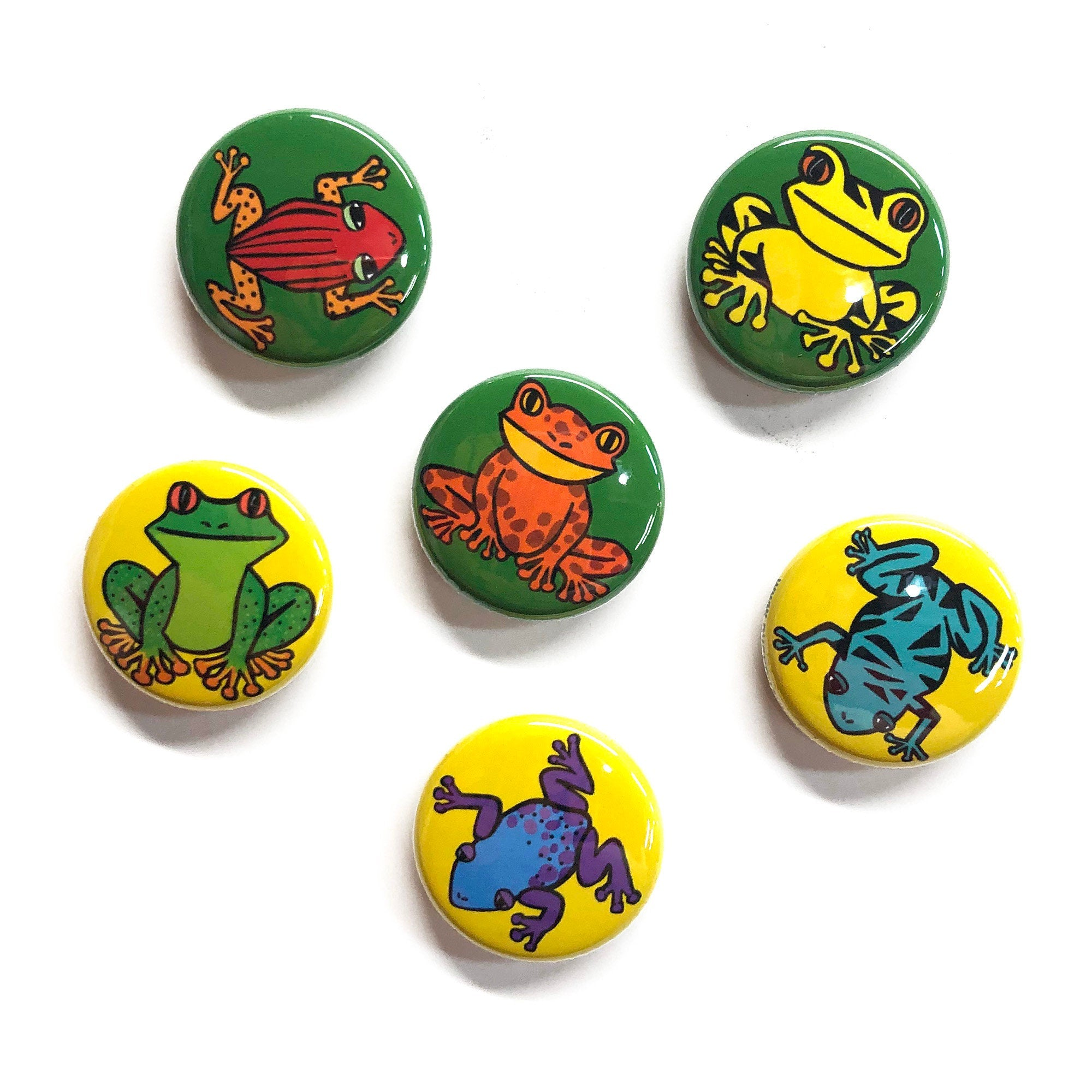 Frog Magnet or Pin Back Button Set - Colorful Tree Frog Fridge Magnets or Pinbacks