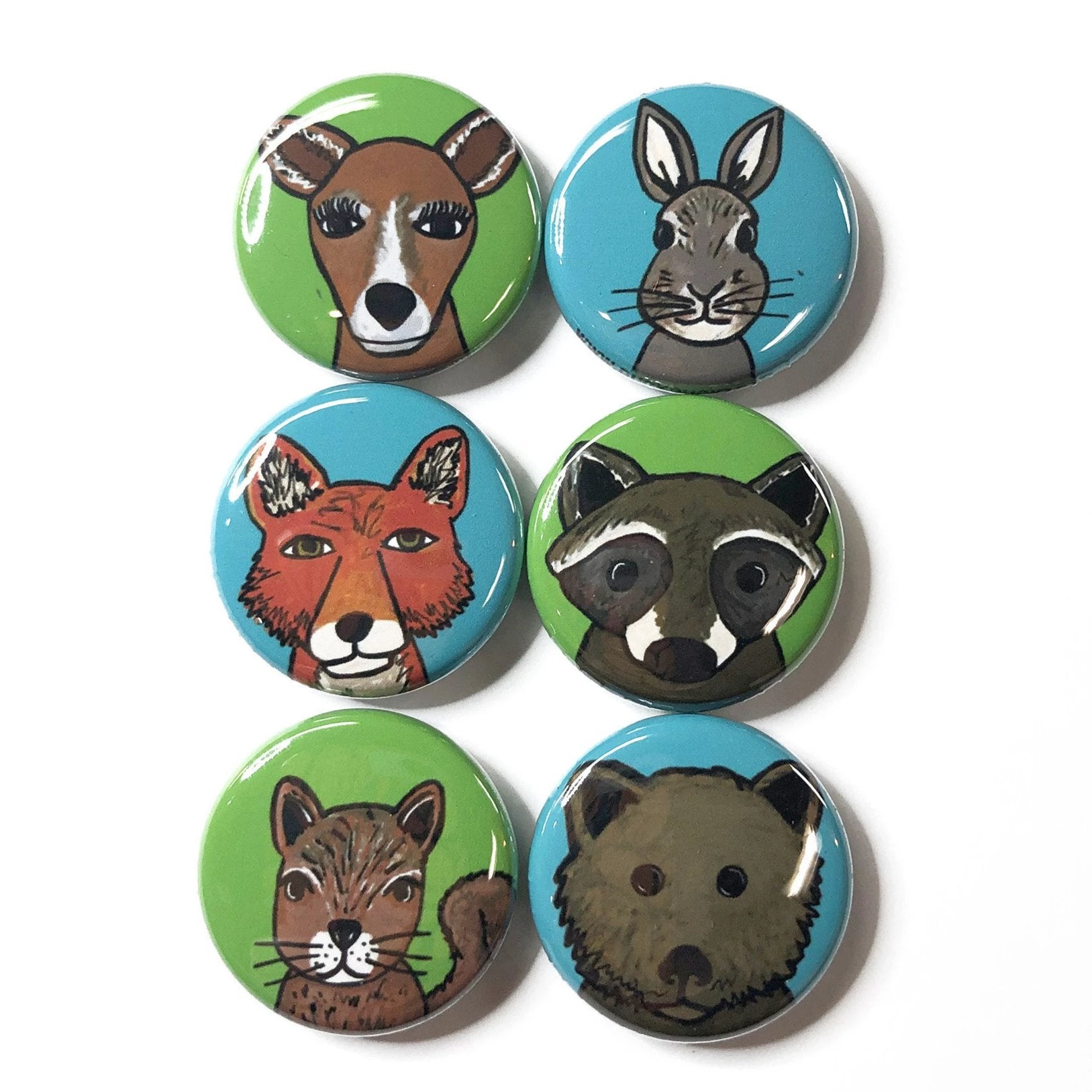 Woodland Animal Magnets or Pinback Buttons - Deer, Rabbit, Fox, Raccoon, Squirrel, Bear