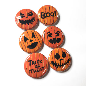 Pumpkin Magnets or Pin Back Buttons - Halloween Jack O'Lanterns