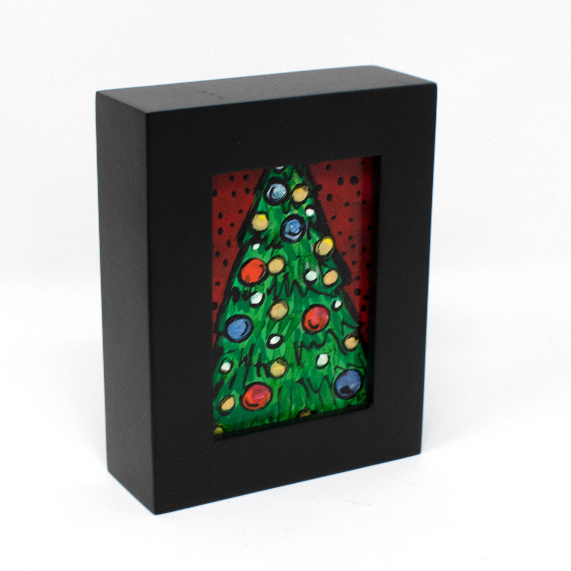 Mini Christmas Art - Framed Christmas Tree Painting