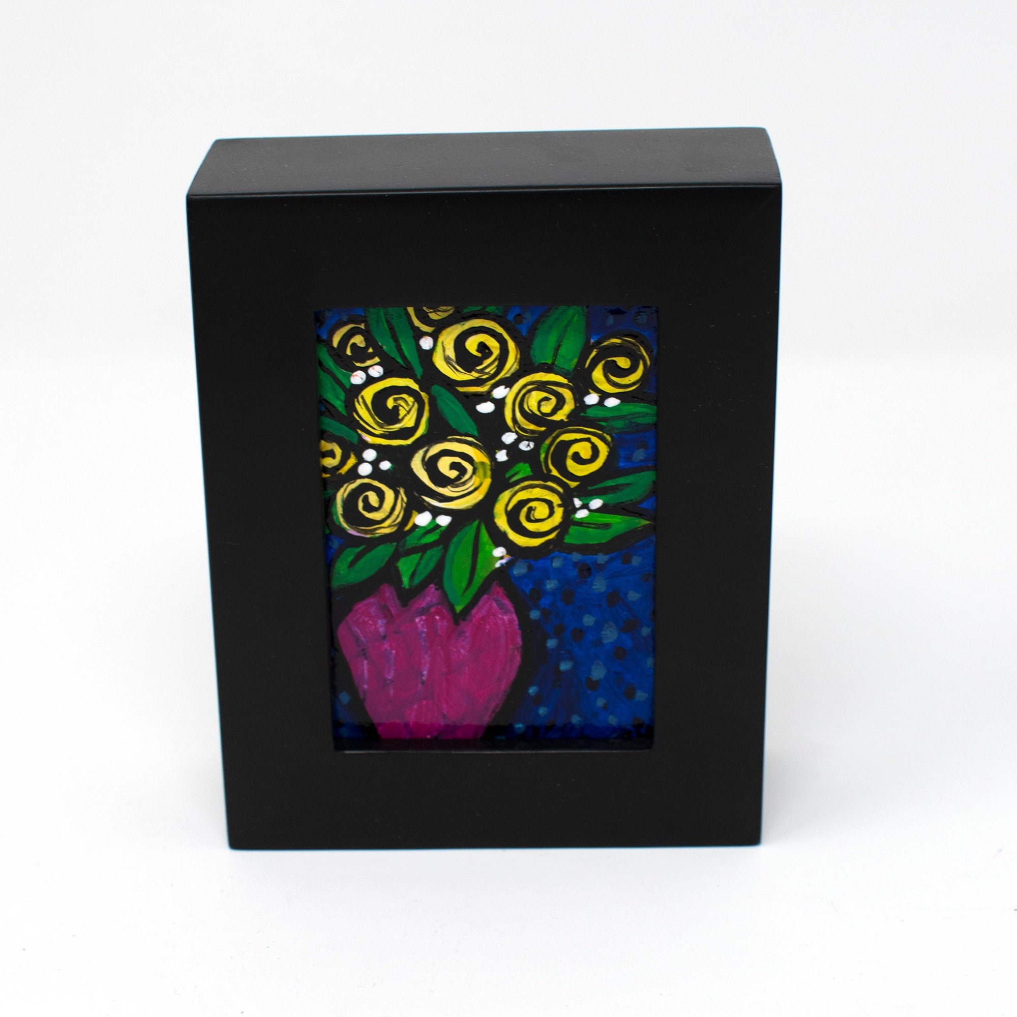 Yellow Rose Painting - Framed Mini Painting for Desk, Shelf, Table or Wall