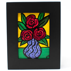Miniature Red Rose Painting