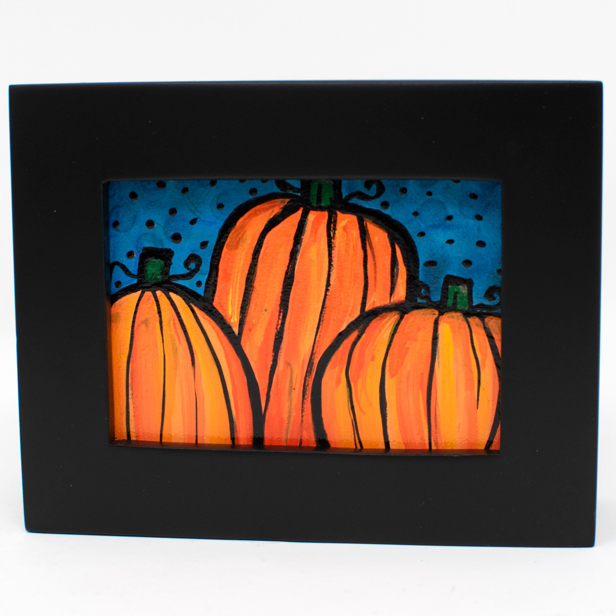 Mini Halloween Painting - Small Pumpkin Art