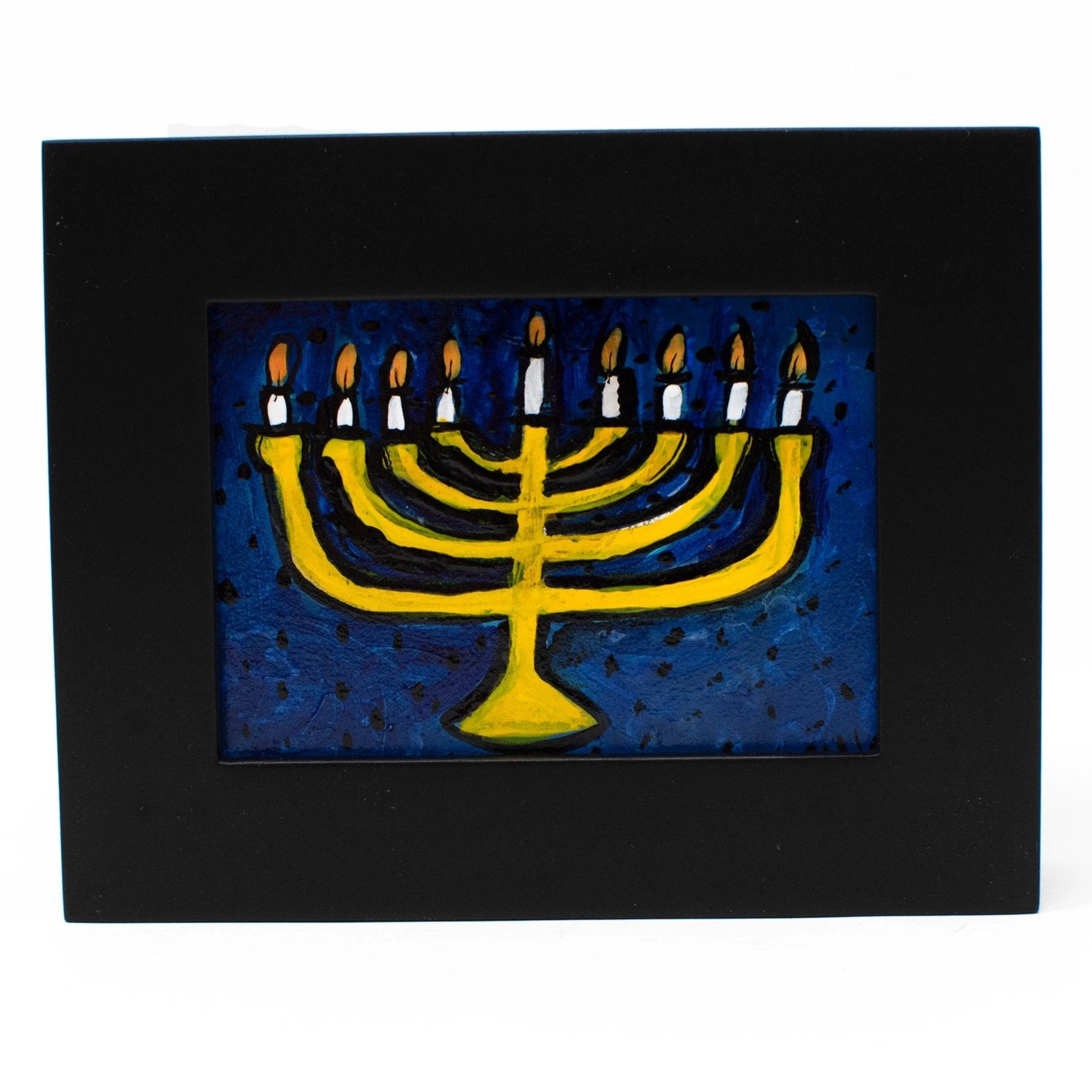 Small Framed Hanukkah Painting of a Menorah - Hanukkah Gift