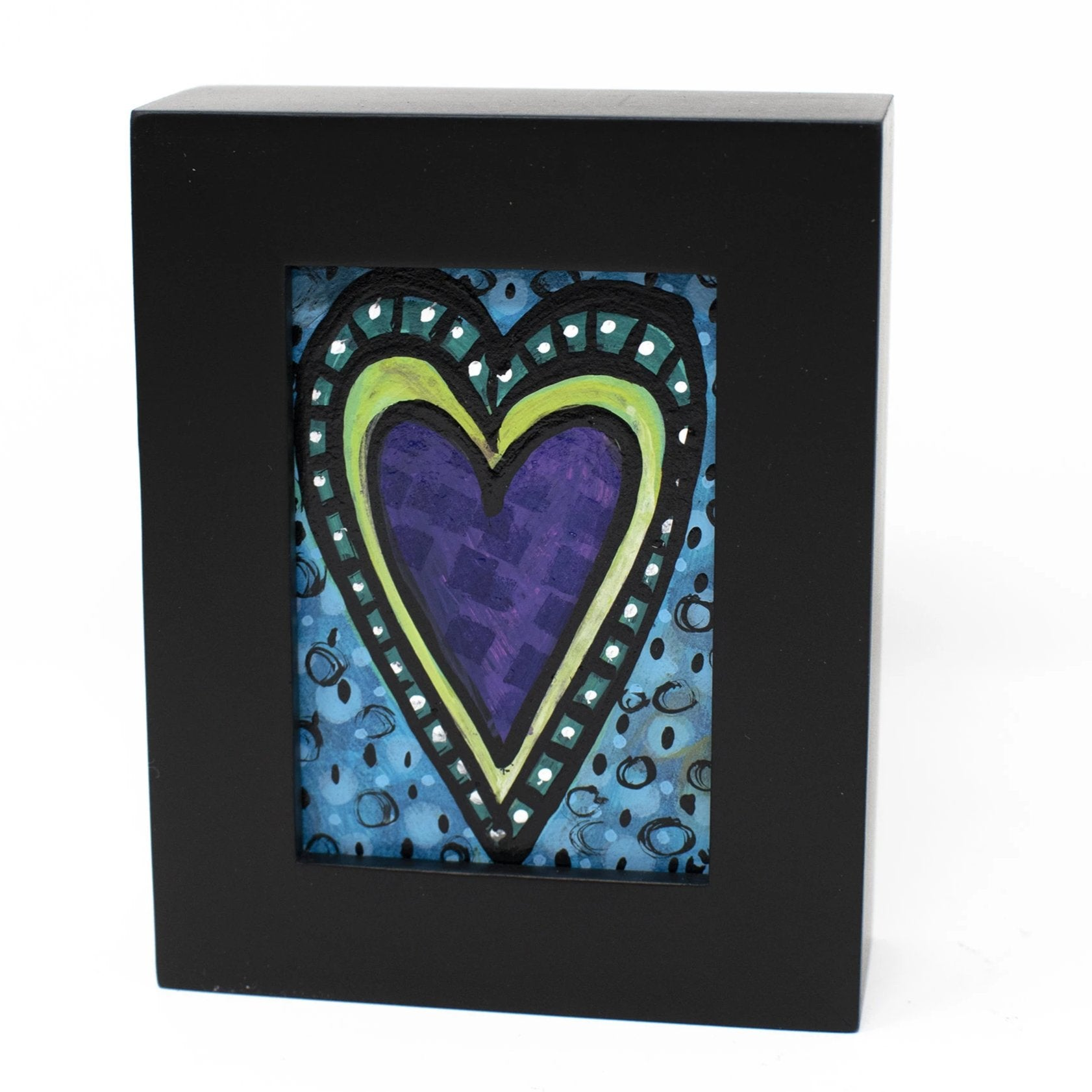Purple Heart Mini Painting - Valentine's Day, Anniversary Gift