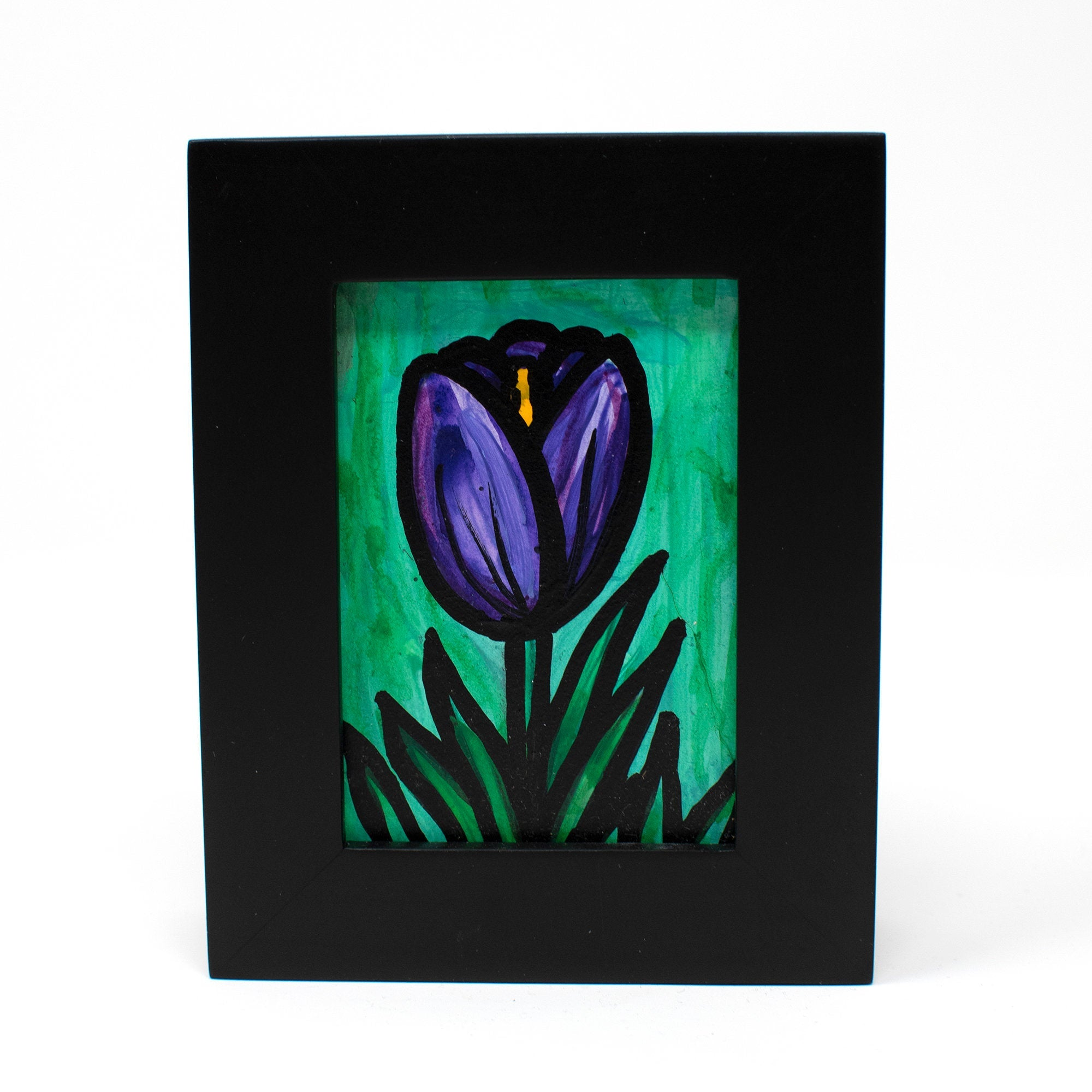Purple Tulip Painting - Mini Bookshelf or Desk Art