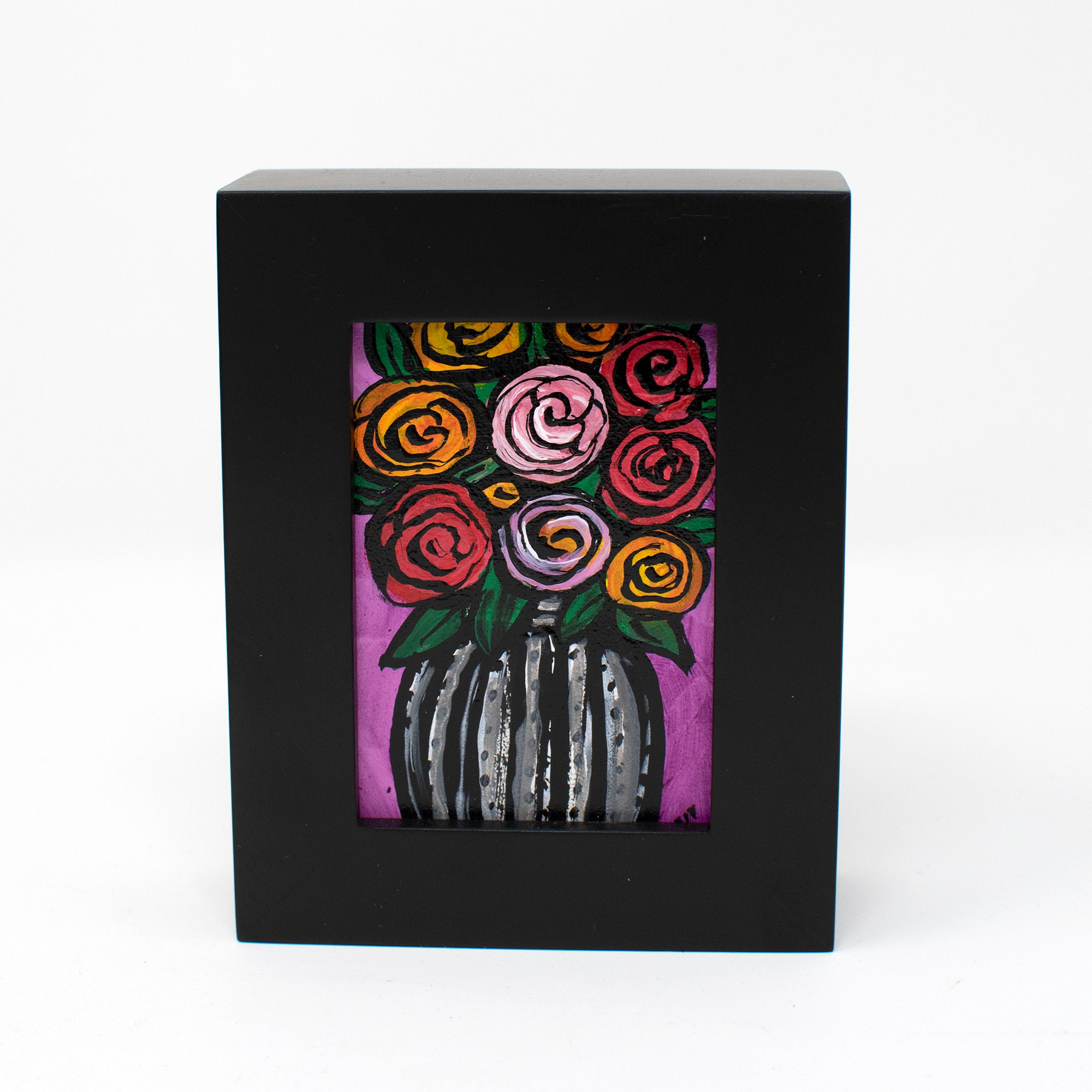 Framed Rose Painting - Mini Floral Art