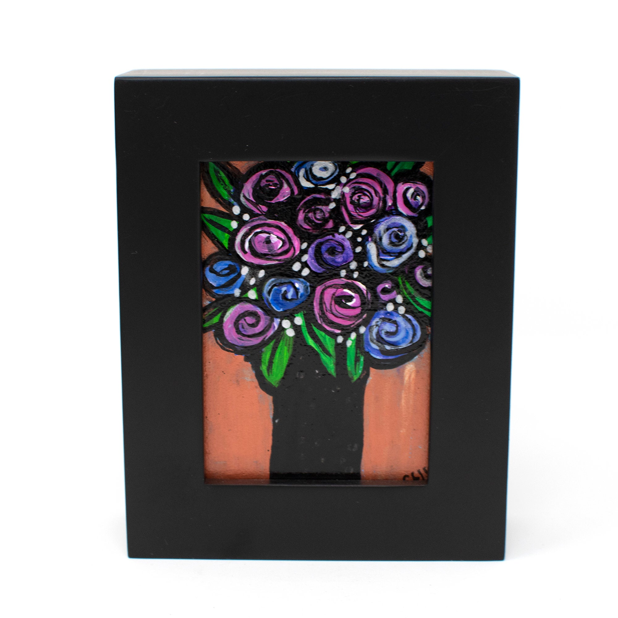 Small Rose Painting - Mini Flower Art in Frame