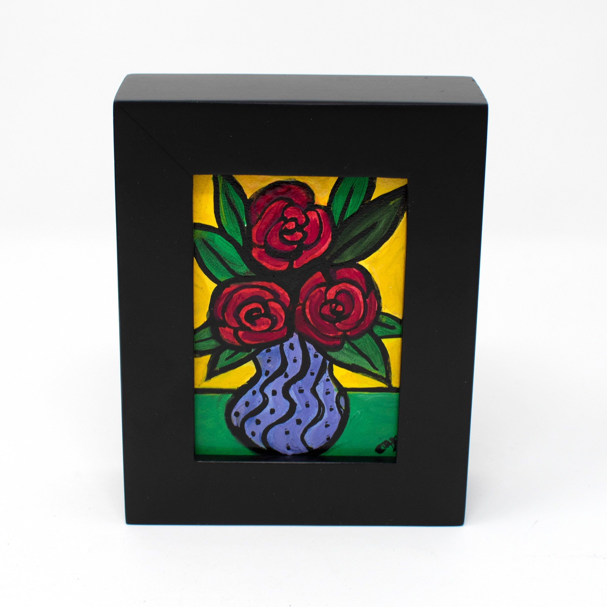 Miniature Red Rose Painting - Framed Floral Painting for Desk, Bookshelf, Wall