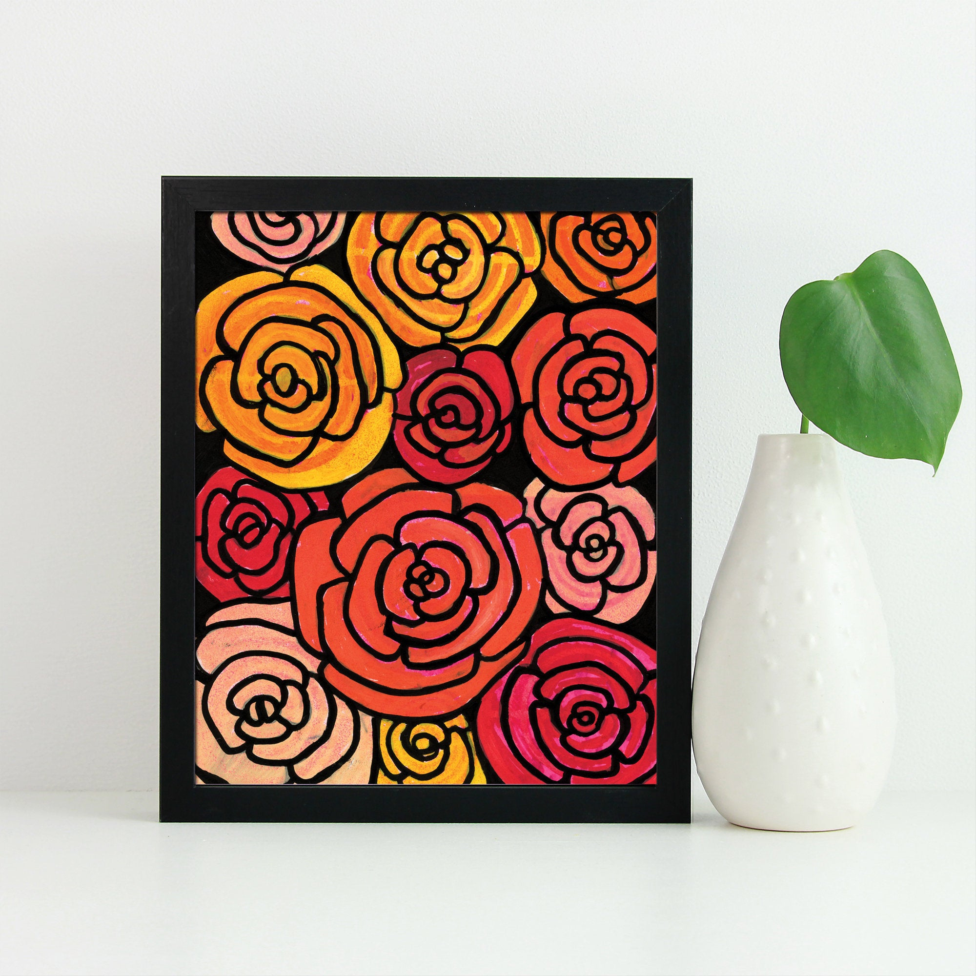 Yellow and Red Rose Print