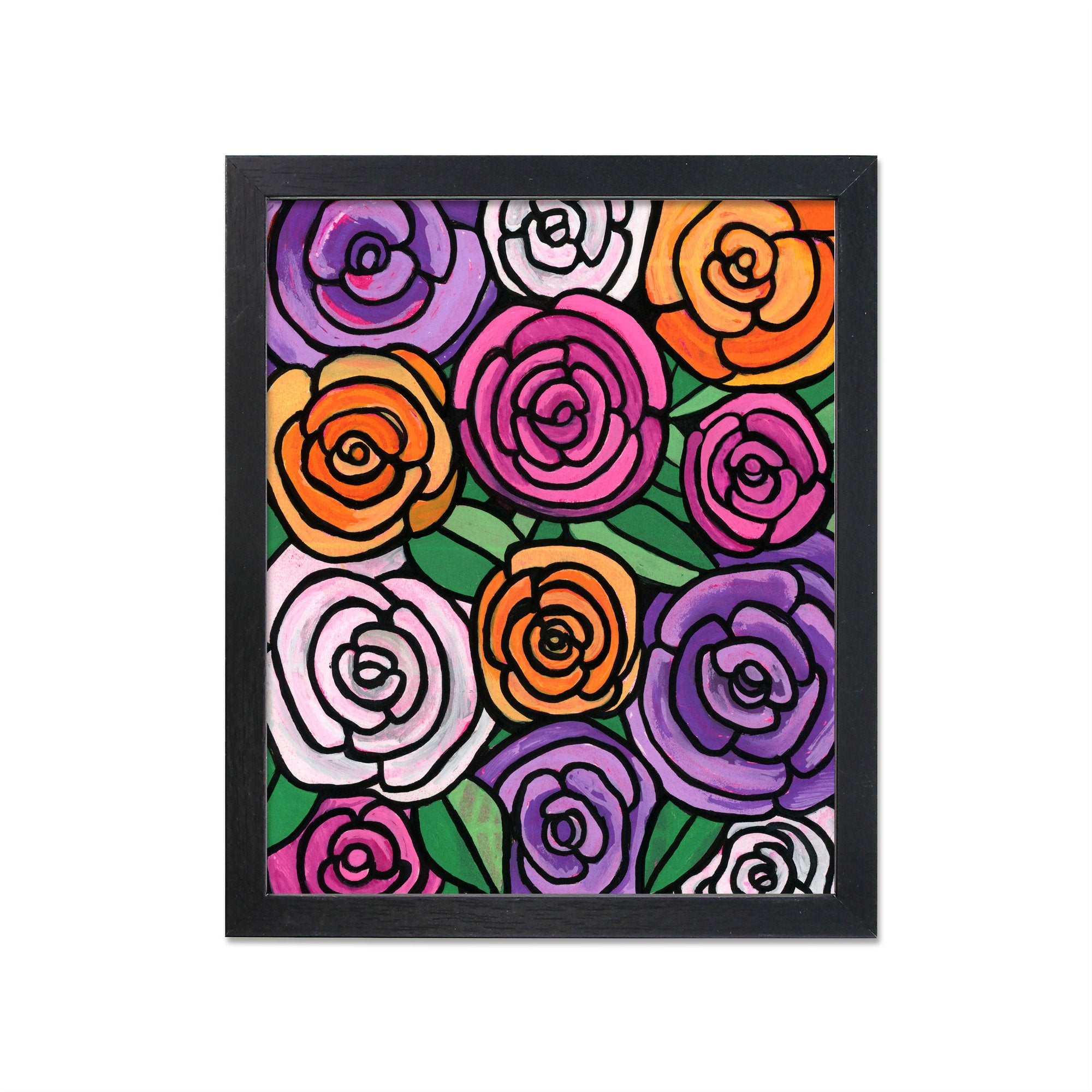 Whimsical Spring Rose Art Print - Purple, Pink, Orange Roses