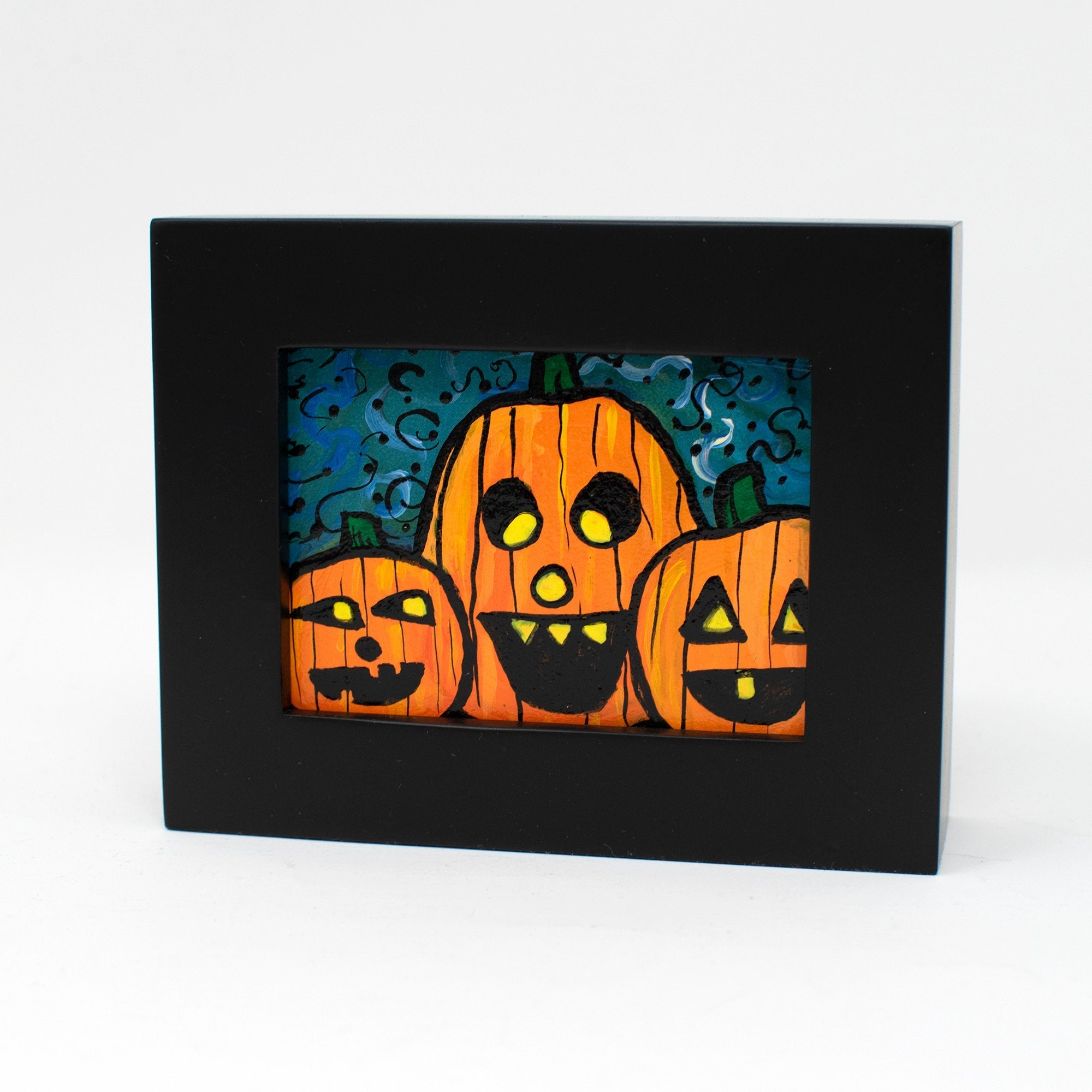 Small Jack O'Lantern Painting - Mini Halloween Art for Desk, Shelf, or Wall