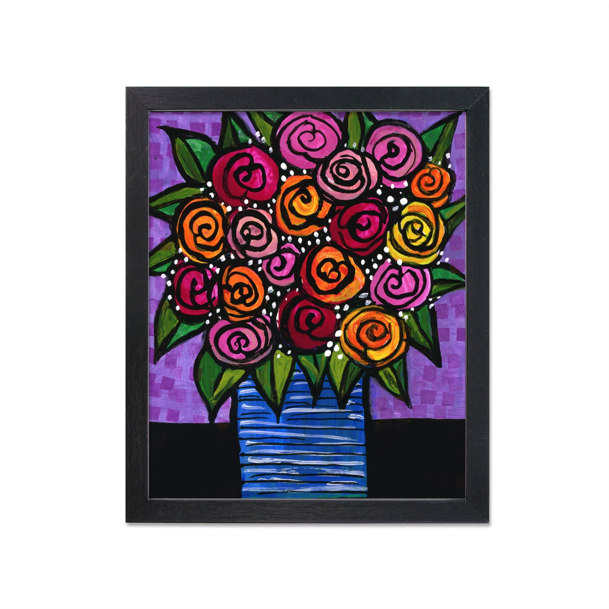 Vase of Roses Print - Whimsical Abstract Floral Art Giclee Print