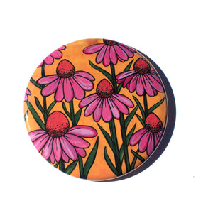 Coneflower Magnet, Mirror, or Pin Back Button