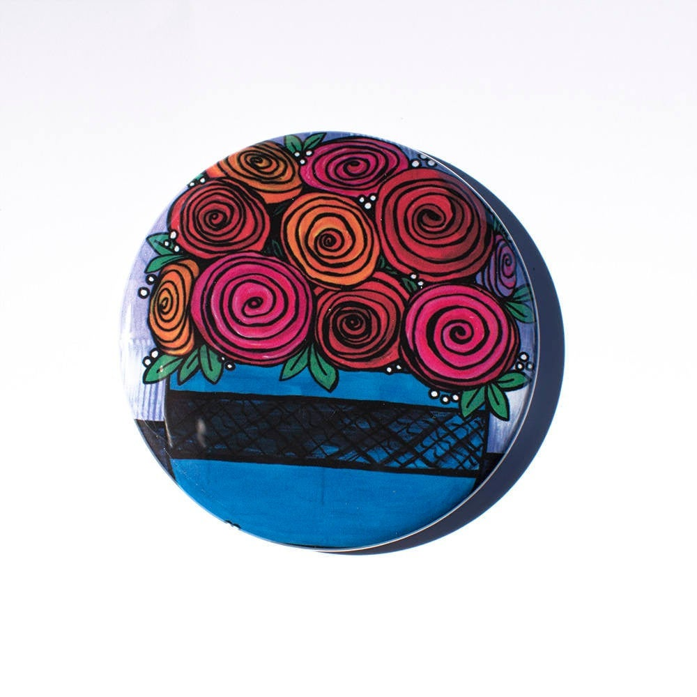 Rose Flower Pocket Mirror, Magnet, or Pinback Button