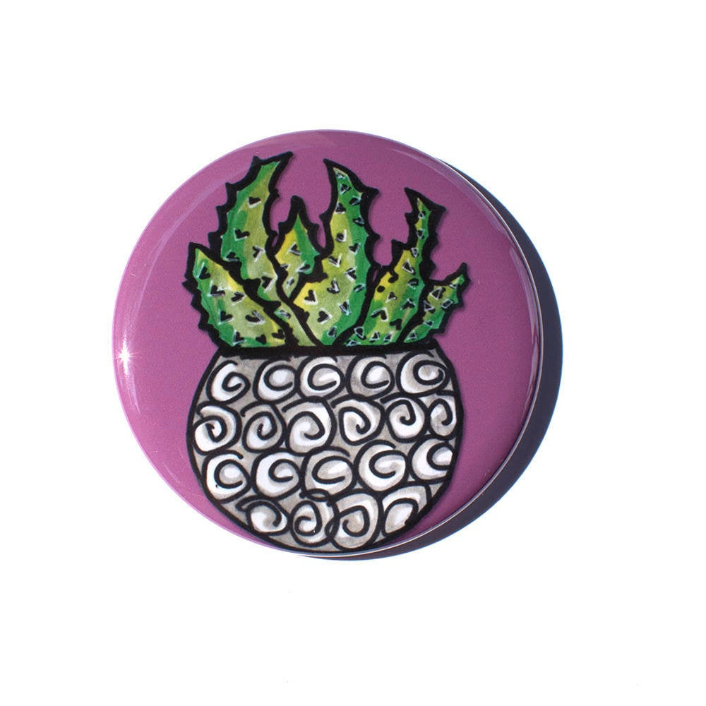 Succulent Magnet, Mirror, or Pin Back Button
