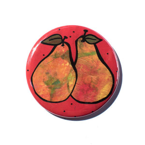 Pair of Pears Magnet, Pin, or Pocket Mirror